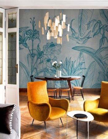 Papel de pared efecto desgastado y motivos florales - diseño de Talva Design para Wall&Decò Design